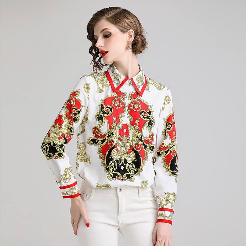 2019 Fashion Designers Runway Blouse Spring Womens Tops and Blouses Long Sleeve Vintage Print Baroque Shirt Ladies Office Shirts in Blouses amp Shirts from Women 39 s Clothing