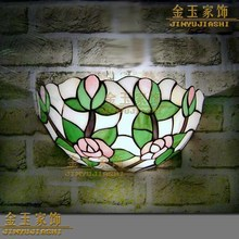 8 дюймов Европейский Средиземноморский Тиффани Ретро Роза настенная лампа для прихожей уютная креативная лампа бар коридор
