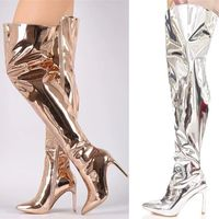 Sexy Shiny Mirror Leather Thigh Boots Women Glitter Patent Leather Over The Knee Botas High Heel Ladies Performance Boots Shoes