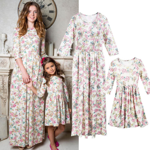 2019 New Floral Long Maxi Dress Mother Daughter Clothes Dress Family Matching Outfit 3/4 Sleeve Dresses Floral