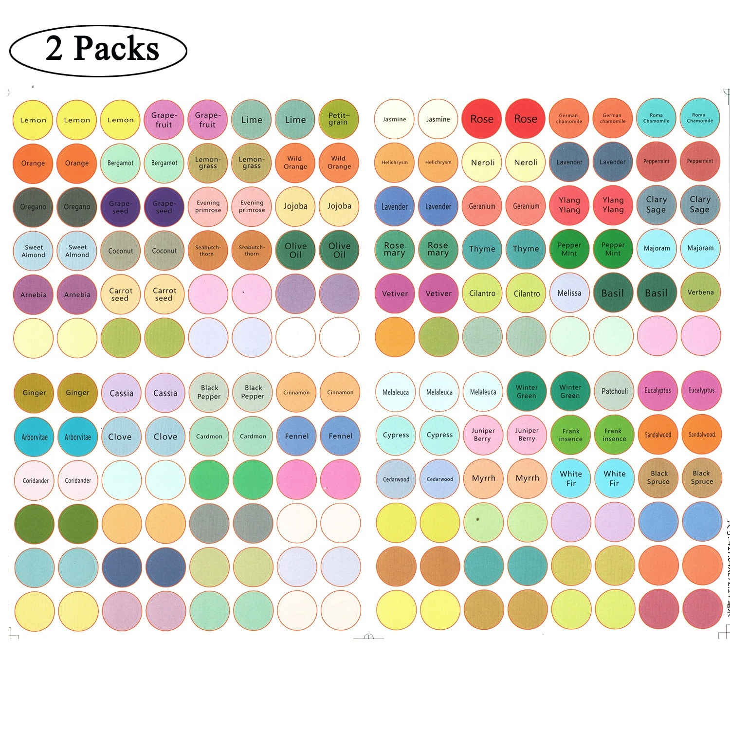 2Pack 192Pcs Paper Waterproof Label Stickers For Essential Oil Bottle Cap Color Coded For DoTERRA Crystal Angel