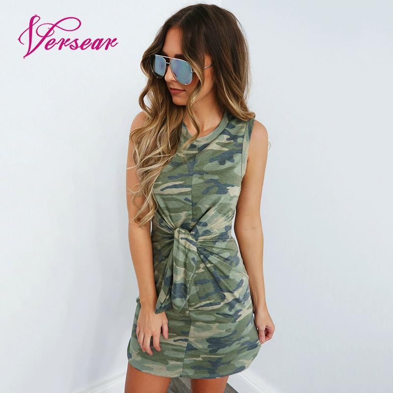 Versear 2019 Summer Fashion Women Sexy Bodycon Sleeveless Mini Dress Camouflage Print Knot Tie Front Slim Short Dresses Vestidos