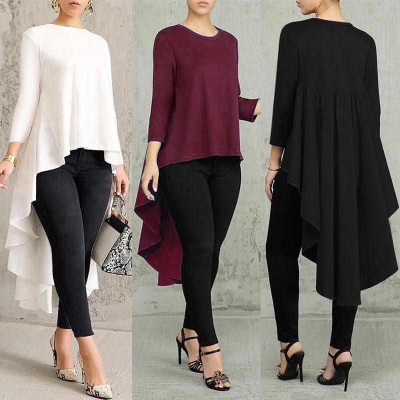 Plus Size Irregular Tops Women's Swallowtail Blouse Spring 2019 ZANZEA Fashion Pleated Long Sleeve Shirt Casual Blusas Femininas