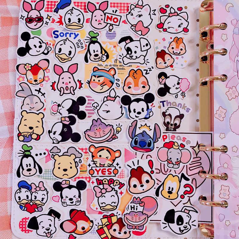 40 Buah/Bungkus Disney Avatar Kartun Mickey Mouse DIY Animasi Stiker Dekorasi Minnie Dilepas Tahan Air Anak-anak Stiker