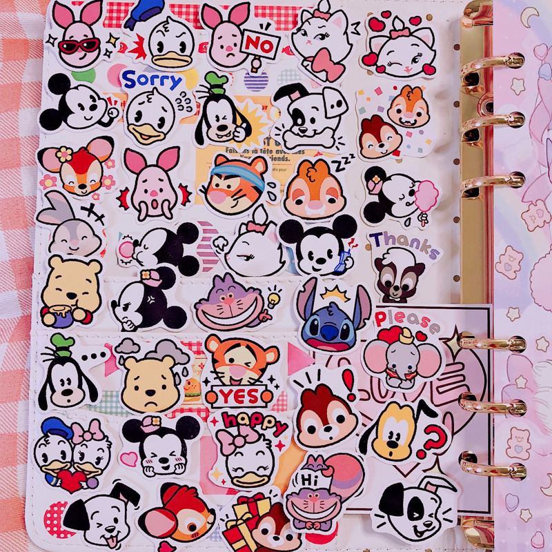40 Pcs / Pack Disney Cartoon Avatar Mickey Mouse DIY Animation Sticker Decoration Minnie Detachable Waterproof Children Stickers