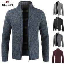 Xijun 2018 осень-зима Для мужчин свитер пальто флис шерстяной свитер куртки Для мужчин молния трикотажные плотные пальто человек Повседневное трикотаж M-3XL
