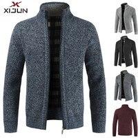 Xijun 2018 Autumn Winter Men's Sweater Coat Fleece Wool Sweater Jackets Men Zipper Knitted Thick Coats Man Casual Knitwear M 3XL