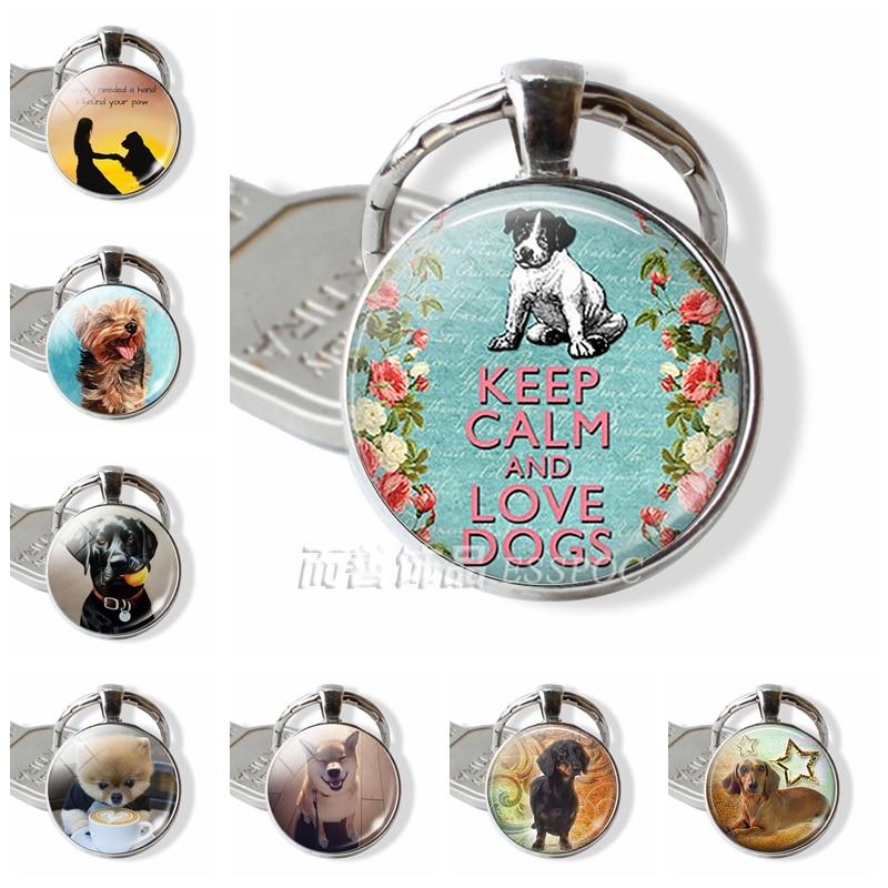 Keep Calm And Love Dog Accessories Pendant Glass Cabochon Dome Key Chain Ring Keyfob Bulldog Husky Dachshund Dog Fashion Gift