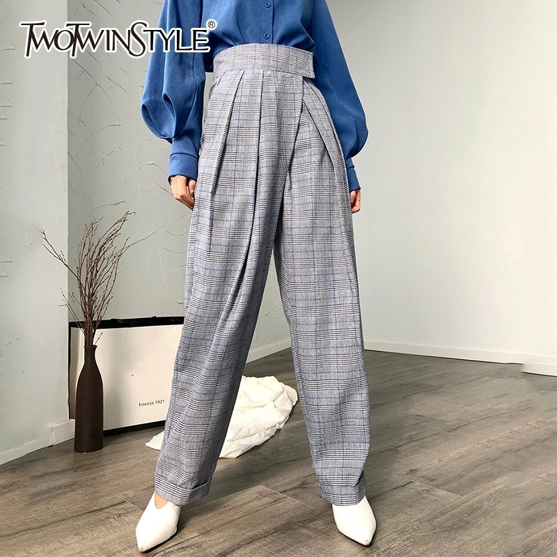 TWOTWINSTYLE Spring Casual Plaid Women Pants High Waist Loose Ruched Oversize Female Trousers Fashion Clothing Korean New 2019
