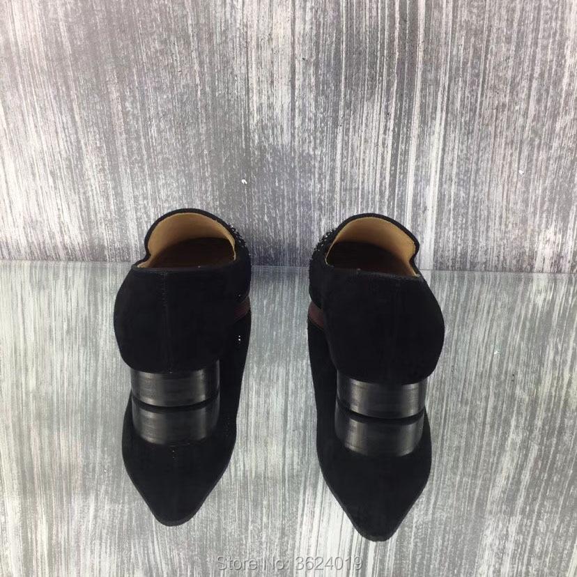 Homem Vaca Planas De Homens O Fundo On Salto Vermelho Sapatos Cl Para Slip Rhinestone Frente Tênis Sapato Couro Andgz Baixo Preto Casuais Diamante nxBFgHq6