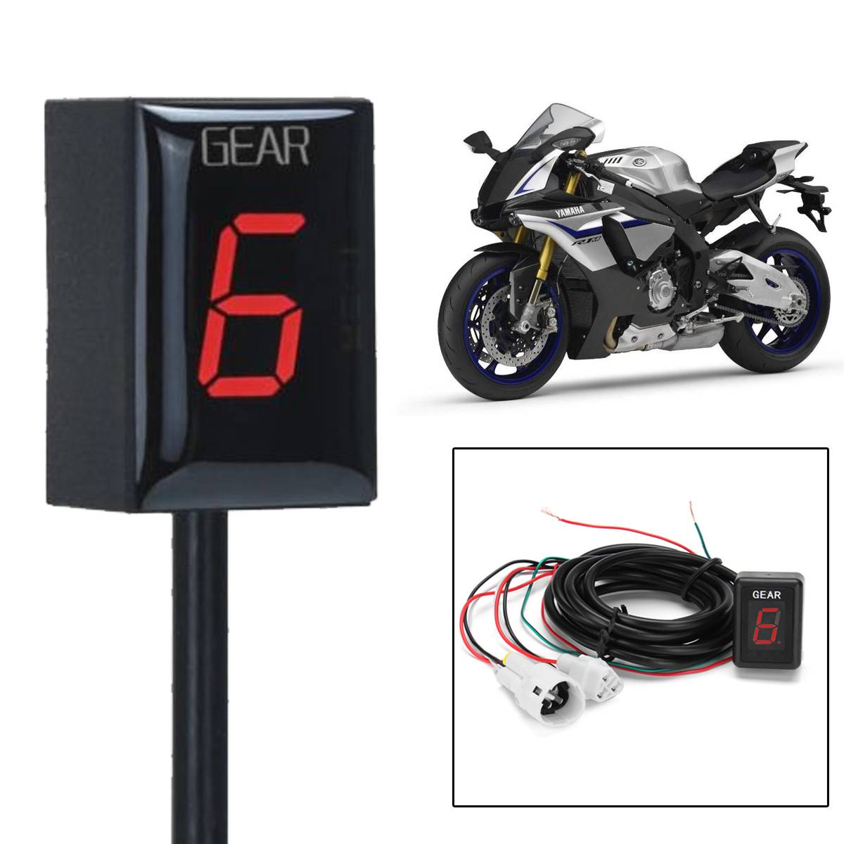 1 6 Speed Motorcycle Gear Indicator Gear Meter Red LED