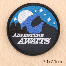 adventure Scenery Round High-quality parches Embroidered Iron on Patches for Clothing DIY Clothes Stickers Badges