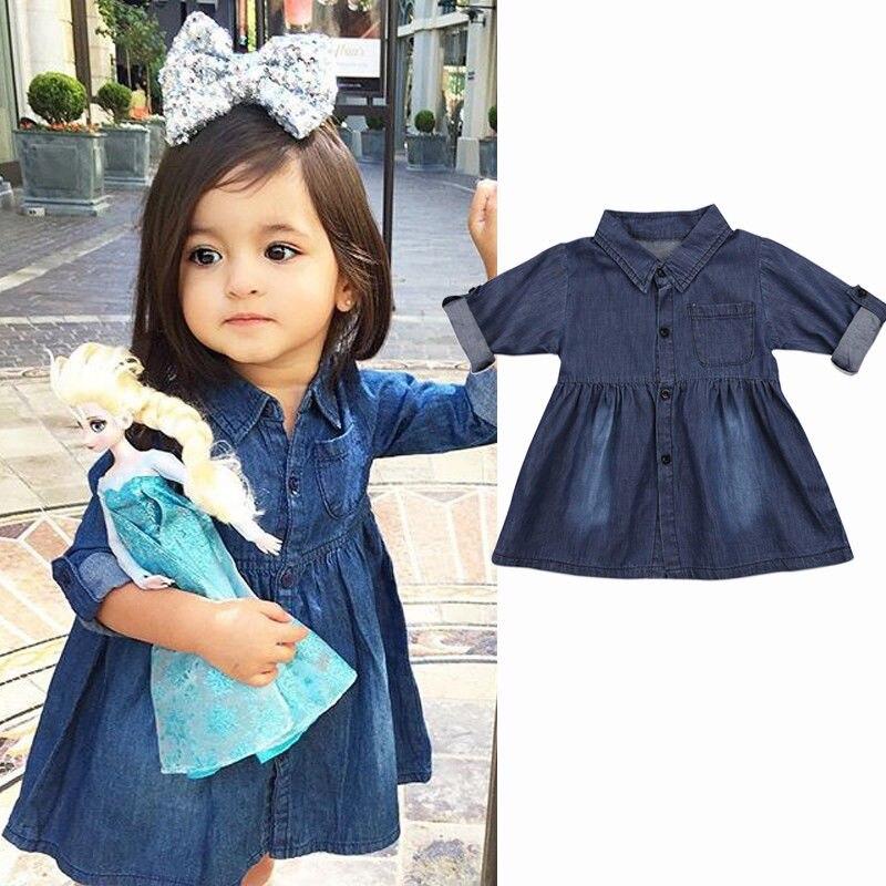 Stetig Pudcoco Mode Komfort Kinder Baby Mädchen Denim Jeans Kleider Freizeit One Picece Prinzessin Langarm Mädchen Tasche Kostüm Kleid Kleider