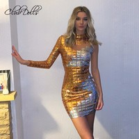 Sequin New Sexy Woman Turtleneck Shiny Square Sequin Mini Prom Gowns Vestidos Glitter Short Cocktail Dresses For Women 2019