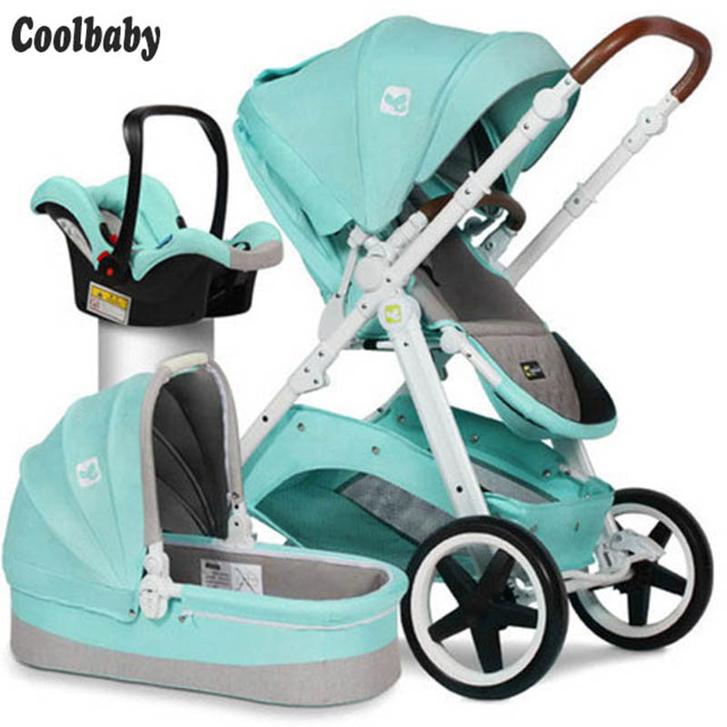 Coolbaby High Landscape Stroller Two-way Shock Absorber Stroller Folding Seat Reclining Russia Free Shipping