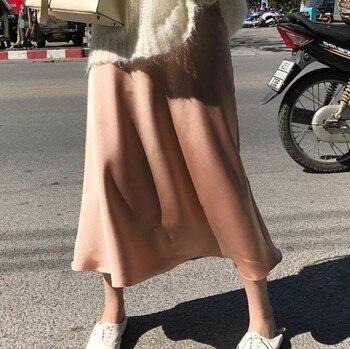 9e40a7e57 2019 primavera mujeres alta cintura elegante falda brillante imitación seda  Faldas largas Falda Mujer femenina sólido Delgado Jupe Mujer Saia longa