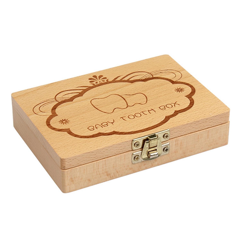 FBIL-Wooden Kids Baby Milk Teeth Box Organizer Wood Storage Baby Tooth Box For Boy Girl Save Teeth Gift