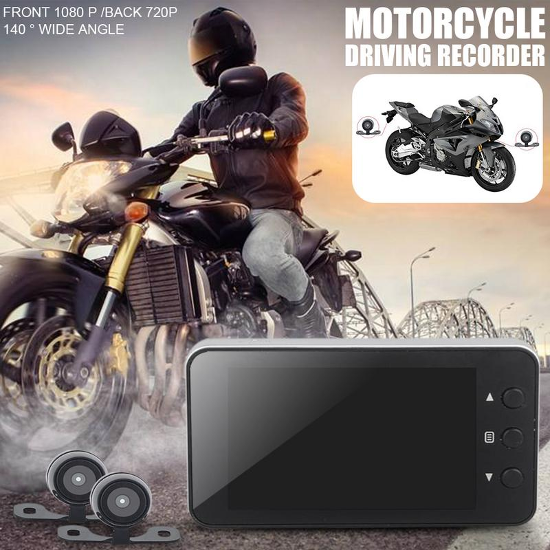 Motorcycle Driving Recorder Locomotive 140 Wide Angle Lens Full HD 1080P Dual Hidden DVR