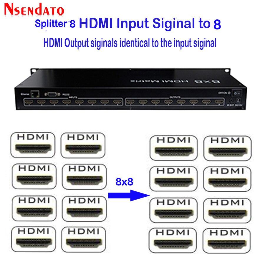 Matrice Full HD 3D 8X8 HDMI 1.3 avec adaptateur de Port RS232/LAN commutateur matriciel HDMI 8 en 8 avec télécommande IR pour moniteur HDTV