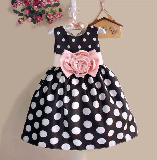 Hot Sale Natal Super Flower girls dresses untuk pesta dan pernikahan Dot print Princess Kids Dress Mode Pakaian Anak-anak