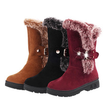 Women snow Boots for Female fashion Belt Buckle Faux Suede Plain Warm winte winter warm faux fur ladies shoes