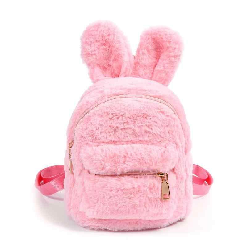Мини-кролик из искусственного меха, рюкзаки для девочек, школьная сумка на плечо