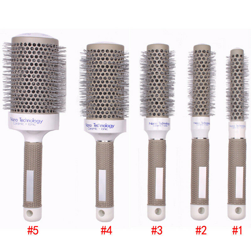 5 Sizes Hair Styling Curle Comb Salon Brushes High Temperature Resistant Hair Brush Comb Hairdressing Ceramic Iron Round Comb