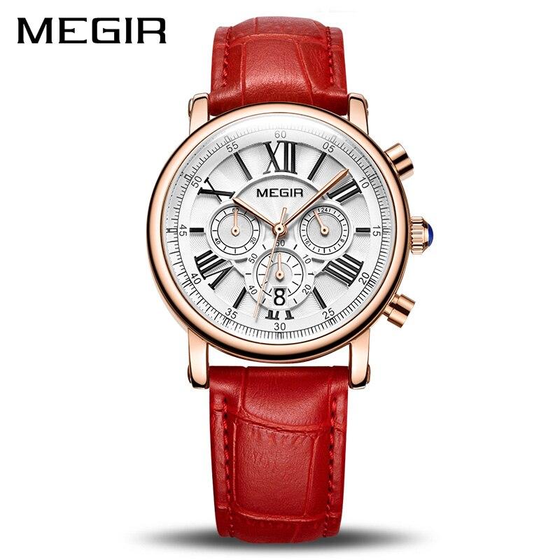 Reloj MEGIR de las mujeres de la moda relojes de pulsera superior de la marca de lujo de las señoras reloj de cuarzo reloj para los amantes Relogio femenino deporte Relojes