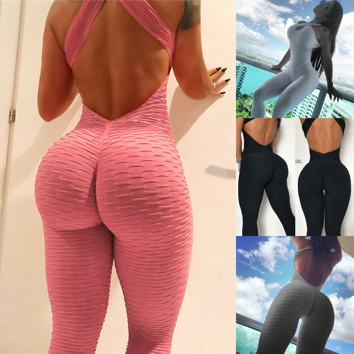 2019 Casual Women One Piece Fitness Jumpsuit Cross Backless Sleeveless Rompers Skinny Slim Suit Workout Jumpsuits Clothing