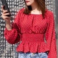 Для женщин blusas slash средства ухода за кожей Шеи в горошек с пышными рукавами эластичный пояс шифоновые рубашки с оборкой блузка женская элега...