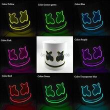 цены на Hot Sales DJ Marshmello Mask Helmet DJ Fans Cosplay Bar Music Mask Decoration LED Flashing Mask EL Mask в интернет-магазинах