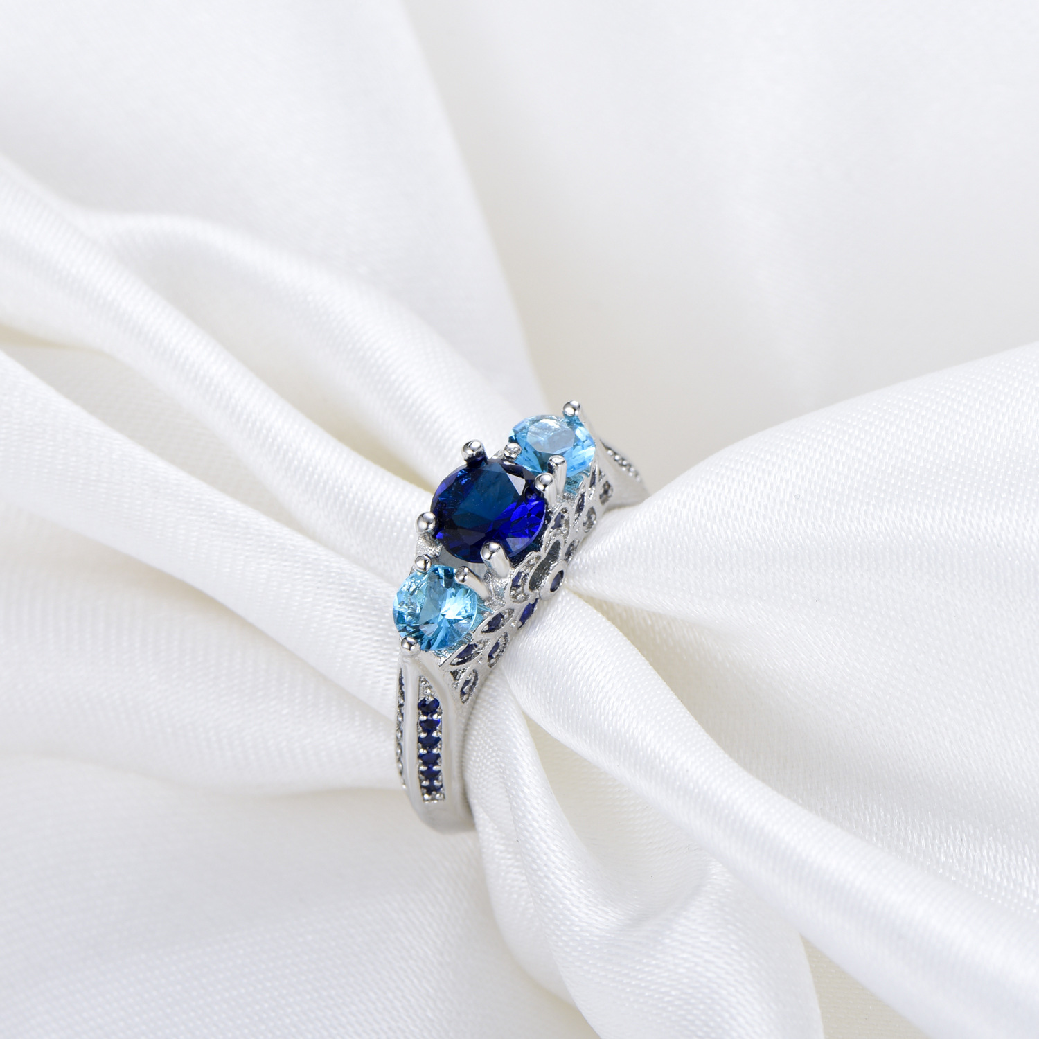 Blue Sapphire Anillo De Ring with Diamonds for Women Bizuteria of Bague or Jaune Amethyst Diamante Obsidian Jade Ring 6 7 8 9 10 in Rings from Jewelry Accessories