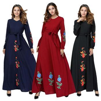 0405b4ae8bb9a22 Мусульманское платье Дубай Макси-платье женское с цветочным принтом ...