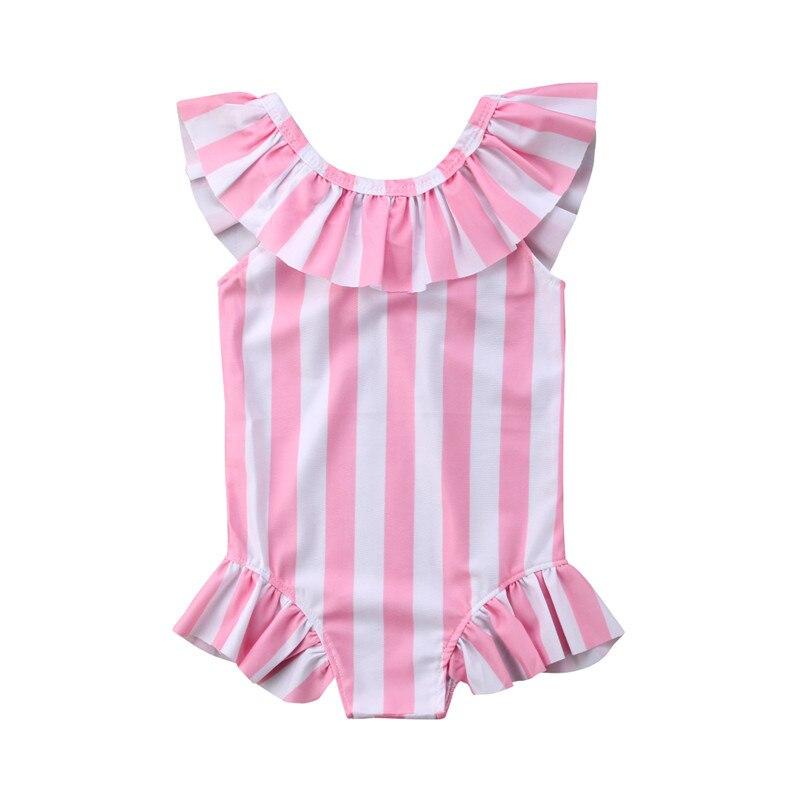Toddler kids 2018 summer striped bikinis one piece Swim Wear Ruffles pink bathing suits baby girls 1-6Y Tankinis swimsuits sport