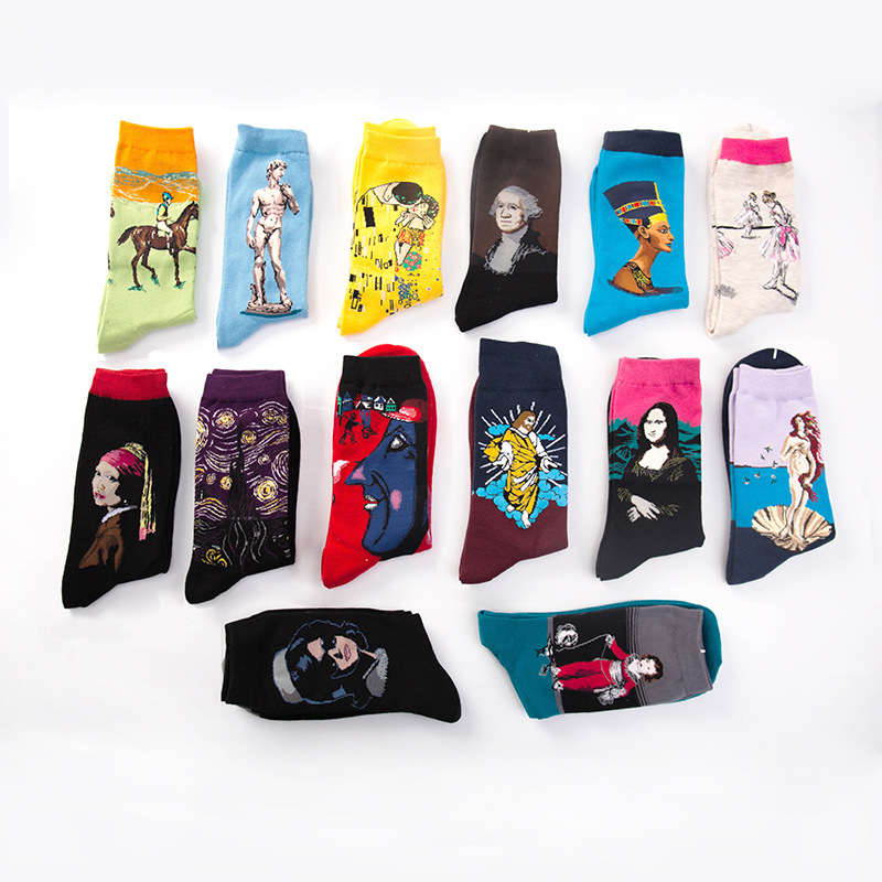 NEW <font><b>3D</b></font> Harajuku <font><b>Retro</b></font> <font><b>Painting</b></font> <font><b>Art</b></font> Short <font><b>Socks</b></font> <font><b>Unisex</b></font> <font><b>Women</b></font> <font><b>Men</b></font> <font><b>Funny</b></font> Novelty Starry Night Vintage <font><b>Socks</b></font> Korean Ankle Kawaii image