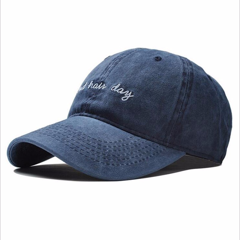 High Quality Washed Cotton  Adjustable Solid Color Baseball Cap Unisex Couple Fashion Hat Snapback