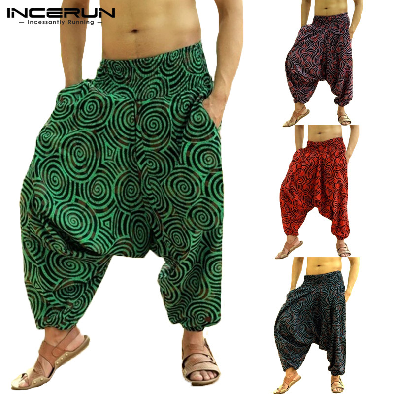 2019 Men Harem Pants Hmong Baggy Hiphop Men Pantalon Hombre Trousers Wide Legs Ethnic Style Pants Casual Joggers Pants Men