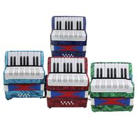 17 Key 8 Bass Accordion Instrument Small Accordion Educational Musical Instruments for Children Navy Blue/Green/Red/Sky Blue