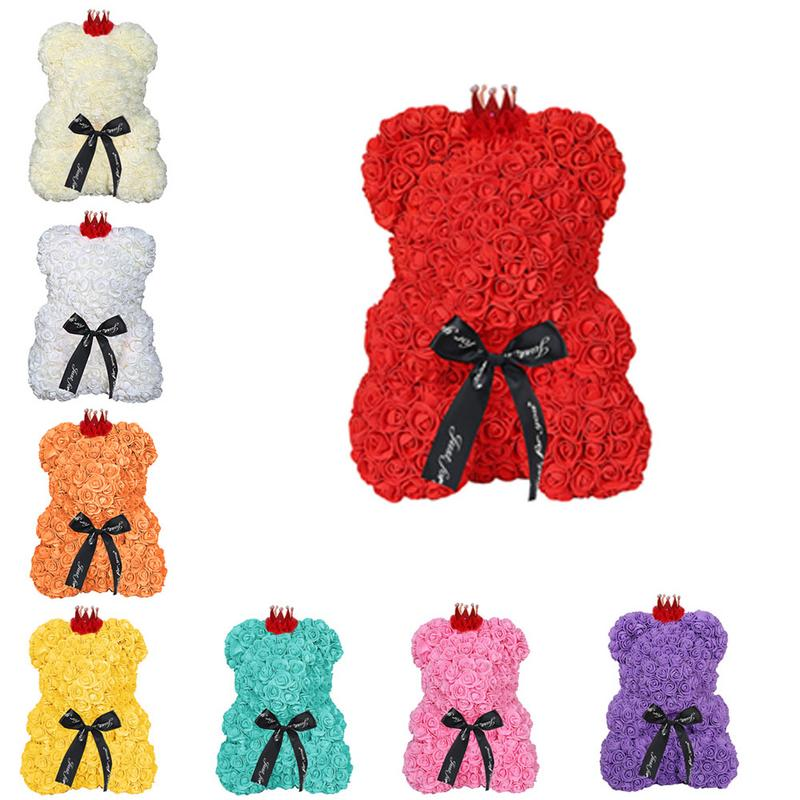 Home & Garden 25cm Bear Of Roses Flowers Teddy Bear With Crown Wedding Festival Diy Surprise Wedding Gift For Girl Lover