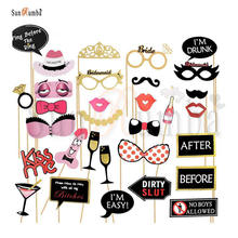 31pcs Hen Party Photo Booth Photocall Bachelorette Party Photobooth Props Stick Team Bride Wedding Decor for a Photo Shoot Props purple bachelorette hen party supplies hen letter glasses bride sunglasses eye decoration photo props