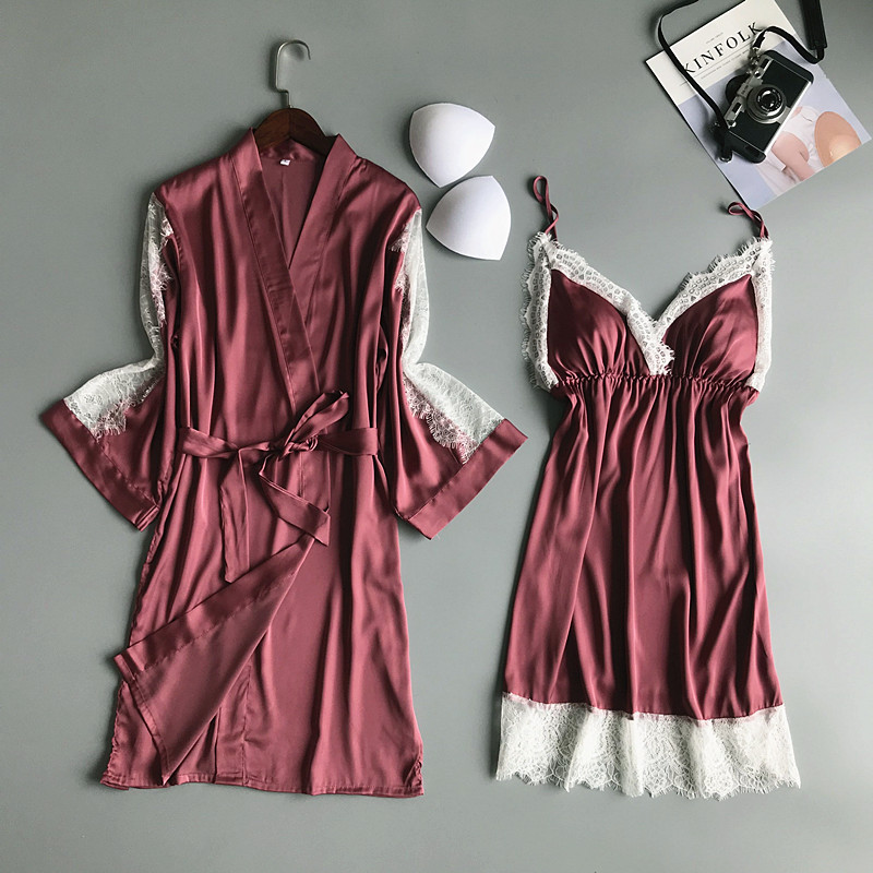 Image 1 - 2019 Summer Women Robe Gown Sets With Chest Pads Sexy Satin Bridesmaid Silk Sleepwear Lace Nightdress Sleeveless Dress Gown-in Robe & Gown Sets from Underwear & Sleepwears