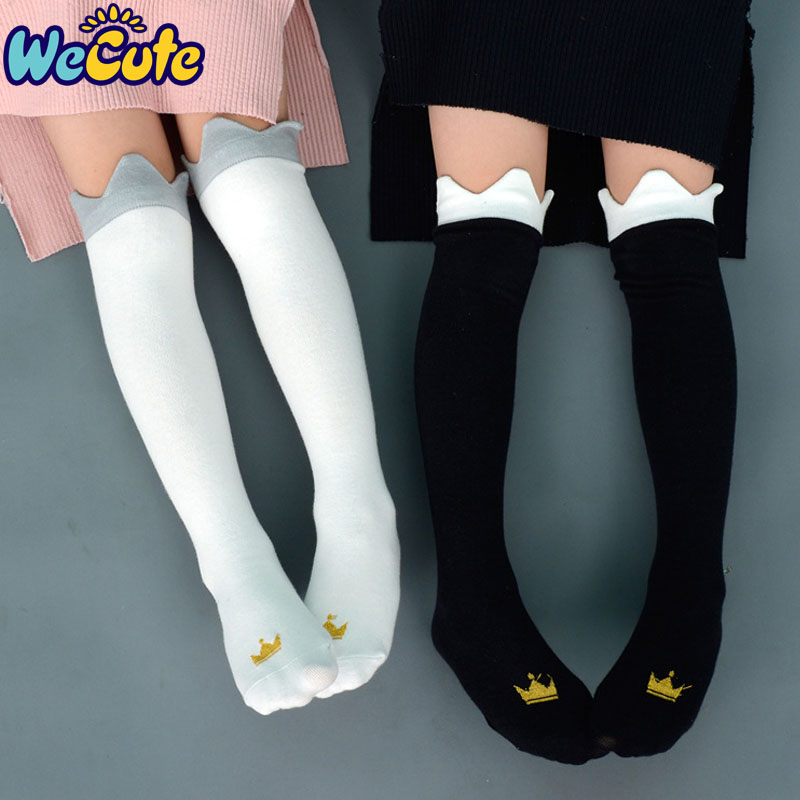 Wecute Baby Children Crown Print Knee High Socks Kids Cute Princess Fashion Cotton Long Socks Baby Girls Sprint Autumn Socks