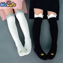 Wecute Baby Children Crown Print Knee High Socks Kids Cute P