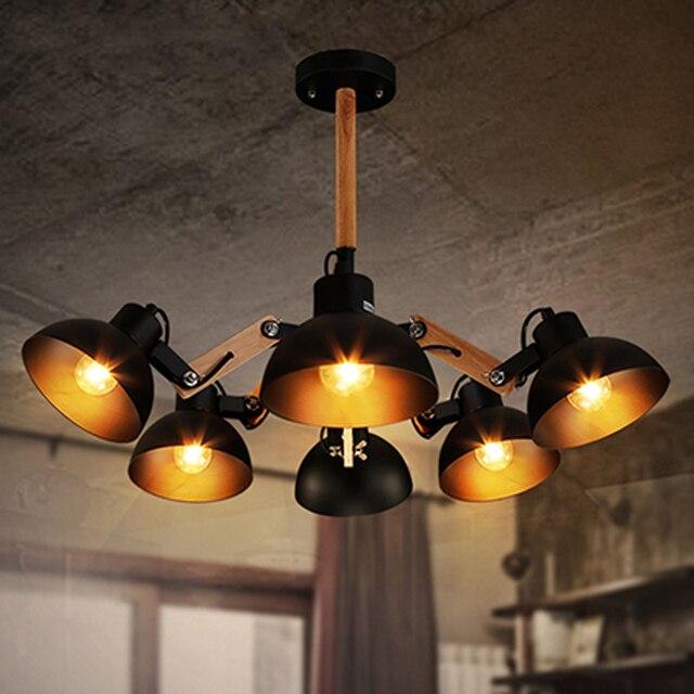 Dining Room retro 3-6 Pcs octopus shape ceiling lamps Luz Techo Industrial lamp Bedroom Bar E27 Vintage Wooden Ceiling lights