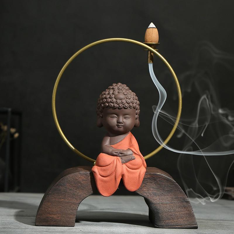 Small Buddha Backflow Incense Burner Smoke Waterfall Incense Holder Aromatherapy Buddha Censer Decorative Buddha Handicrafts in Incense Incense Burners from Home Garden