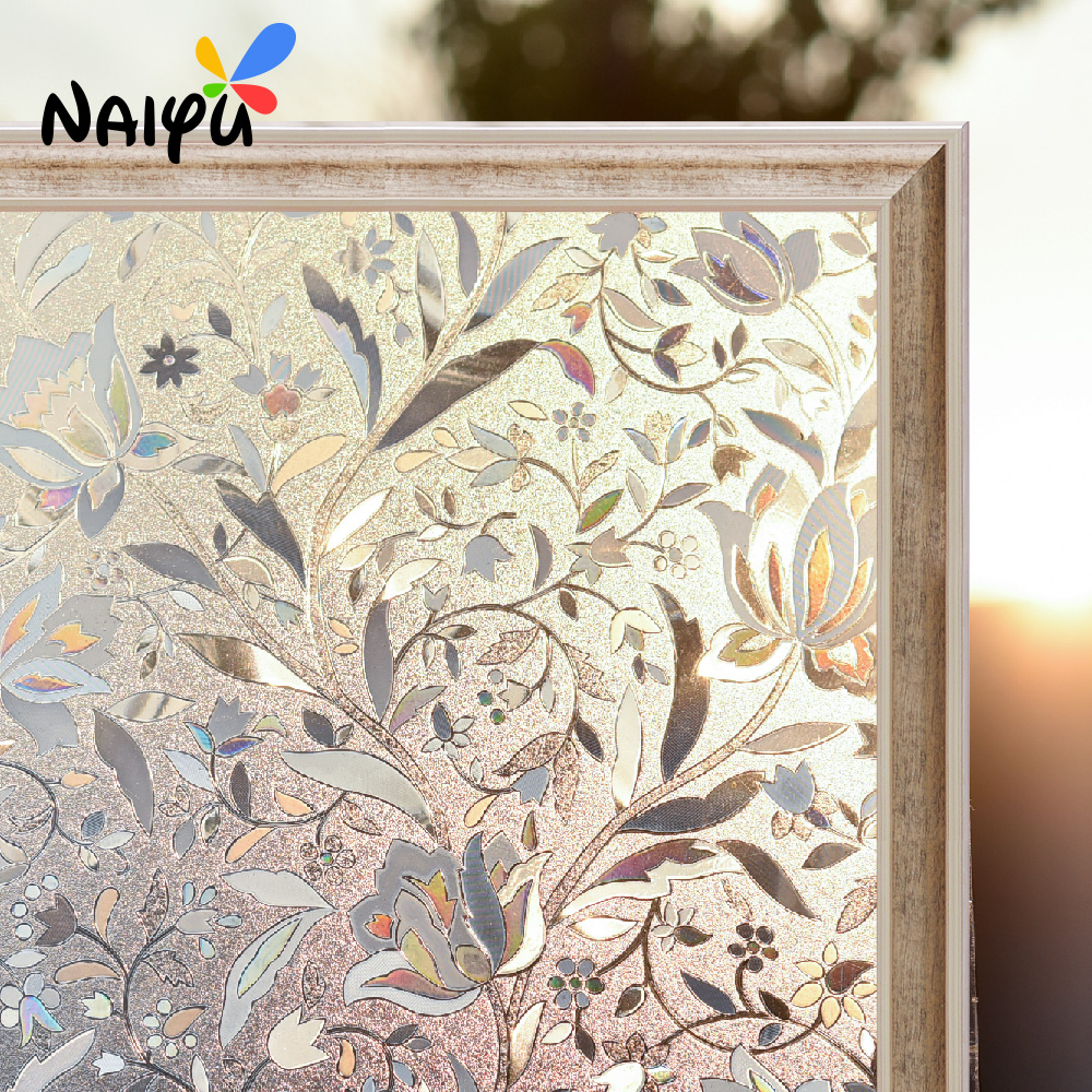 0 3mm 3d Static Cling flower Pvc Heat Insulation Opaque Explosion proof Glass Films No glue Decorative Sticker Window Film in Decorative Films from Home Garden