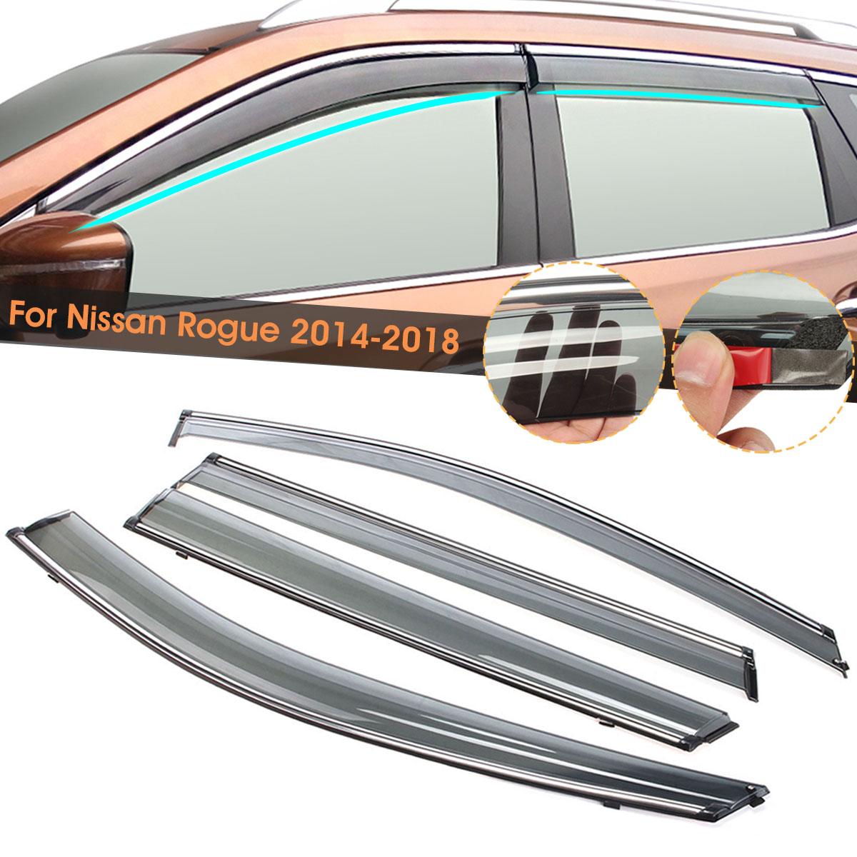 Fit For Nissan Rogue 2014 2015 2016 2017 2018 Car Vent Window Visor Shade Shades Visors Rain GuardsFit For Nissan Rogue 2014 2015 2016 2017 2018 Car Vent Window Visor Shade Shades Visors Rain Guards