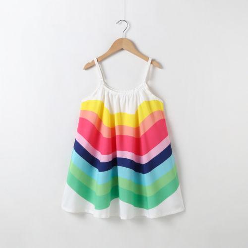 Kids Baby Girl Summer Rainbow Sling Dress Sleeveless Party Beach Dresses Clothes