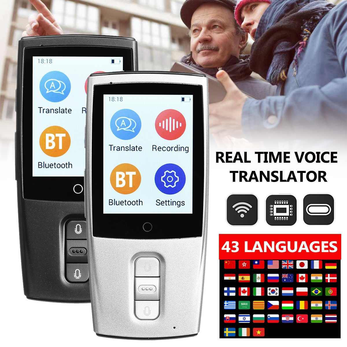 Portable Smart Voice Translator Two-Way Real Time WiFi 43 Languages Instant Traductor Translation for Learning Meeting Business image