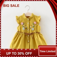 Baby Dresses Girl Summer Clothes with Belt Embroidery Flower Baby Dress for Girl Ruffle Cotton Vestido Infantil недорого